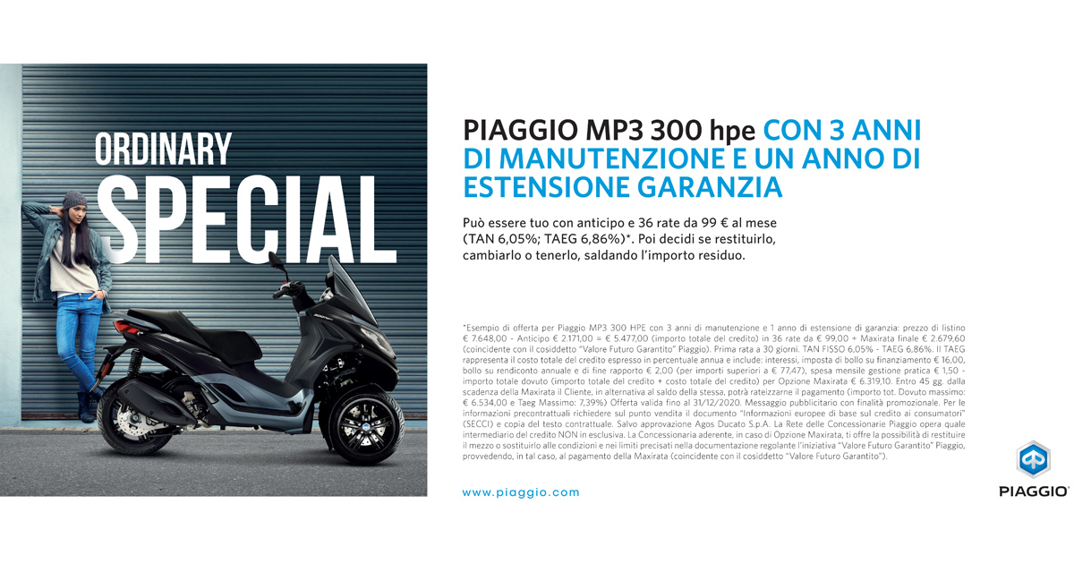 Piaggio Ride Now con Piaggio Care su gamma MP3