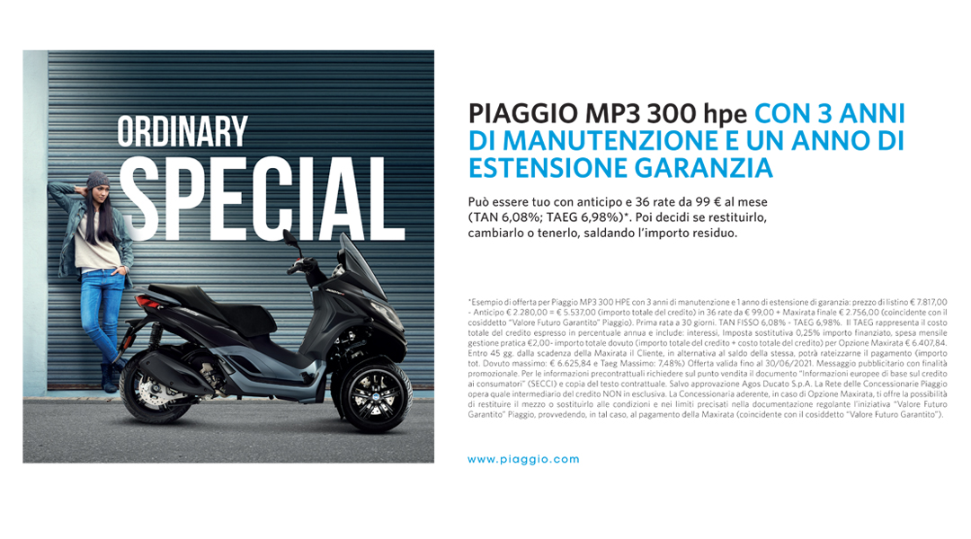 Piaggio Ride Now Mp3 con Piaggio X-Care+